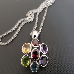 Jewelry - 925 Sterling Silver Multi Gemstone Necklace #416